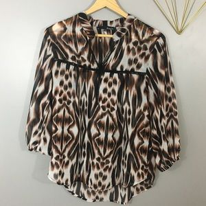 Ro & De Cheetah Leopard Career Blouse Top Small